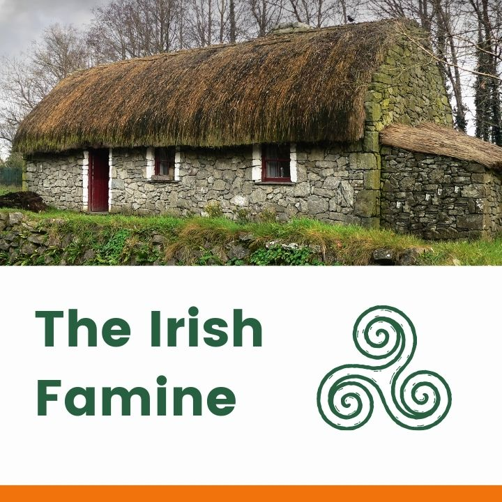 Thatched cottage over a text banner with Celtic Symbol