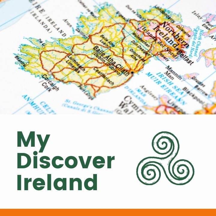 Road map of Ireland over a text banner with a Celtic symbol
