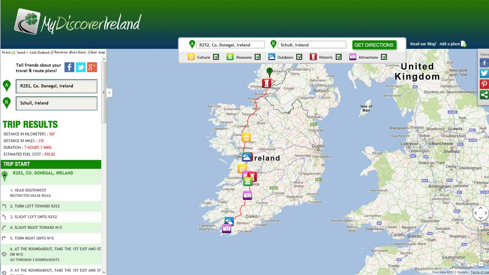 My Discover Ireland map showing a route from Kerry to Donegal