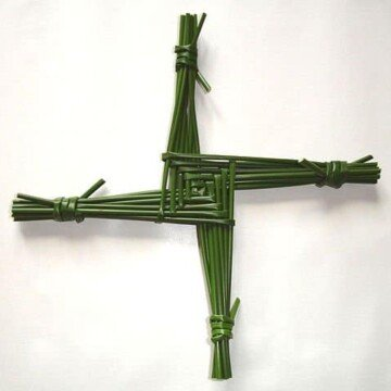 A square cross made with reeds and first created by Saint Brigid