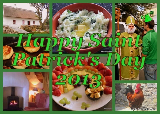 Saint Patrick, a rainbow fruit platter, colcannon and a thatched cottage in an Irish photo collage