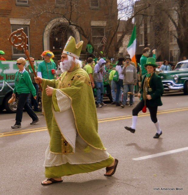 Saint Patrick costume for leading the parade in Louisville Kentucky
