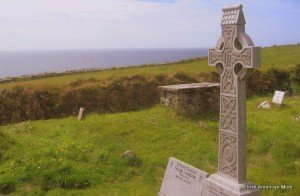 A Celtic Cross in an Irish coastline cemetery