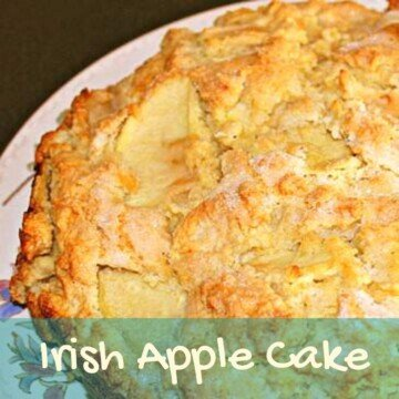 Golden topped apple cake with text overlay