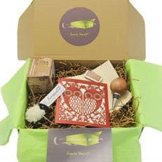A close up of a gift box with green tissue paper