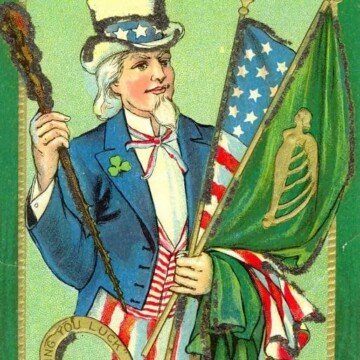 Uncle Sam wearing a shamrock and holding a harp flag and an American flag