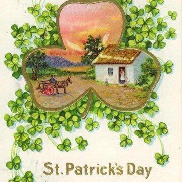 Three little leaves of Irish green vintage Saint Patrick's day card