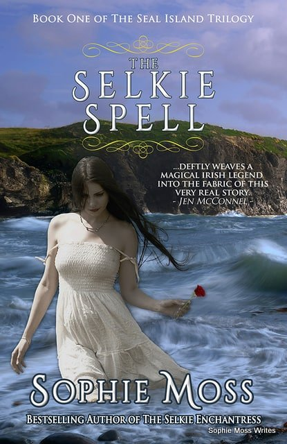 Woman in the sea holding a rose on a Sophie Moss book cover