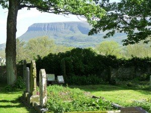 Grave stones in Drumcliffe County Sligo underneath Ben Bulben