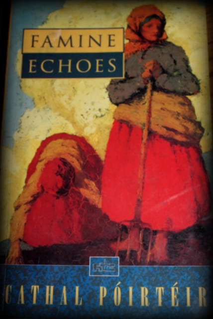 Irish women in a field on the book cover for Famine Echoes