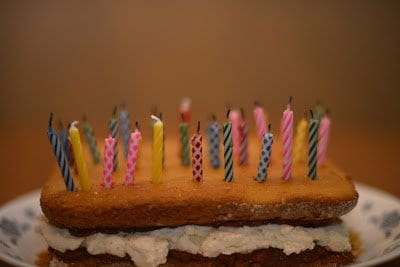 sponge cake with candles