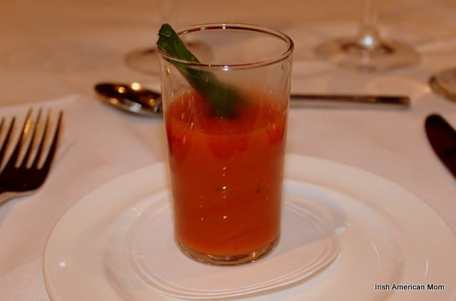 Warm Tomato And Local Basil Shot