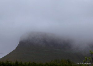The mist covered mountain Ben Bulben in County Sligo