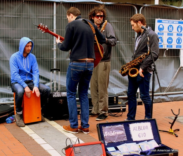 Dublin Buskers Tuning Their Instruments