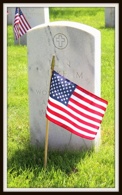American Flag On Grave For Memorial Day