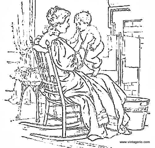 Mother and Baby - Clipart