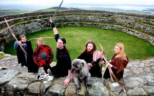 irish warriors on the walls of the stone fort at Grianan an Ailigh County Donegal
