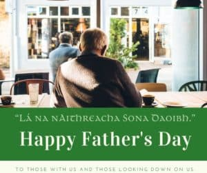 Happy Father's Day Graphic featuring the rear view of a man enjoying a cup of copy and reading the newspaper in a coffee shop
