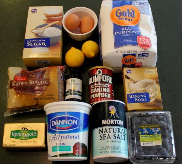 Ingredients for Blueberry Lemon Crumb Cake