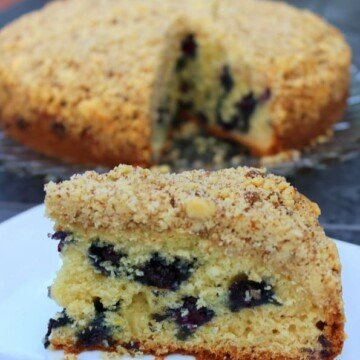 a side view of a slice of lemon blueberry crumb cake