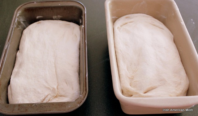 Dough resting in bread pans