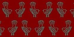 Blackbird pattern on red fabric