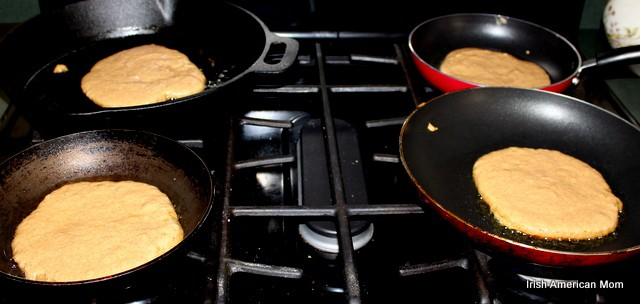 Cooking pancakes on every burner