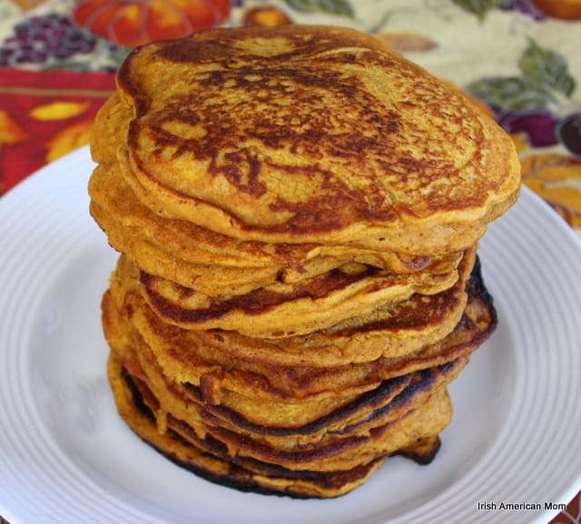 A stack of golden pumpkin wholewheat pancakes