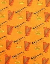 harp on Irish music themed fabric