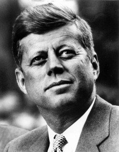 Head shot of President John F Kennedy