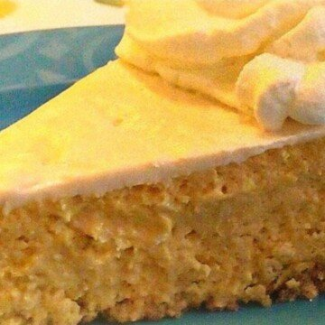 Irish cream pumpkin cheesecake close up view