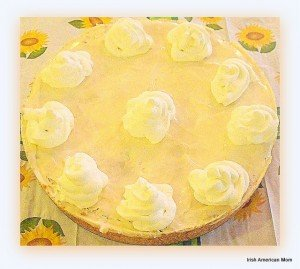 Irish cheesecake decorated with cream