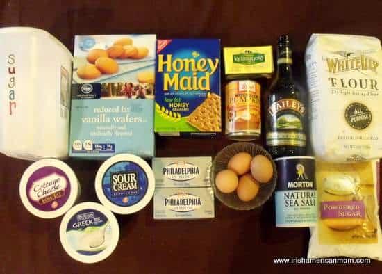 Ingredients for Baileys pumpkin chees pie