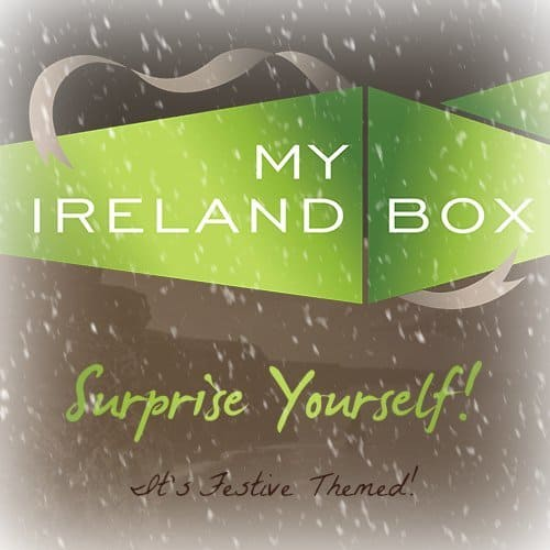 Text on a snow speckled logo for My Ireland Box Festive themed gift