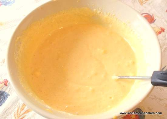 Pumpkin cheese mixture with beaten egg whites folded in