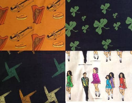Four squares of Irish themed fabric for sewing and quilting
