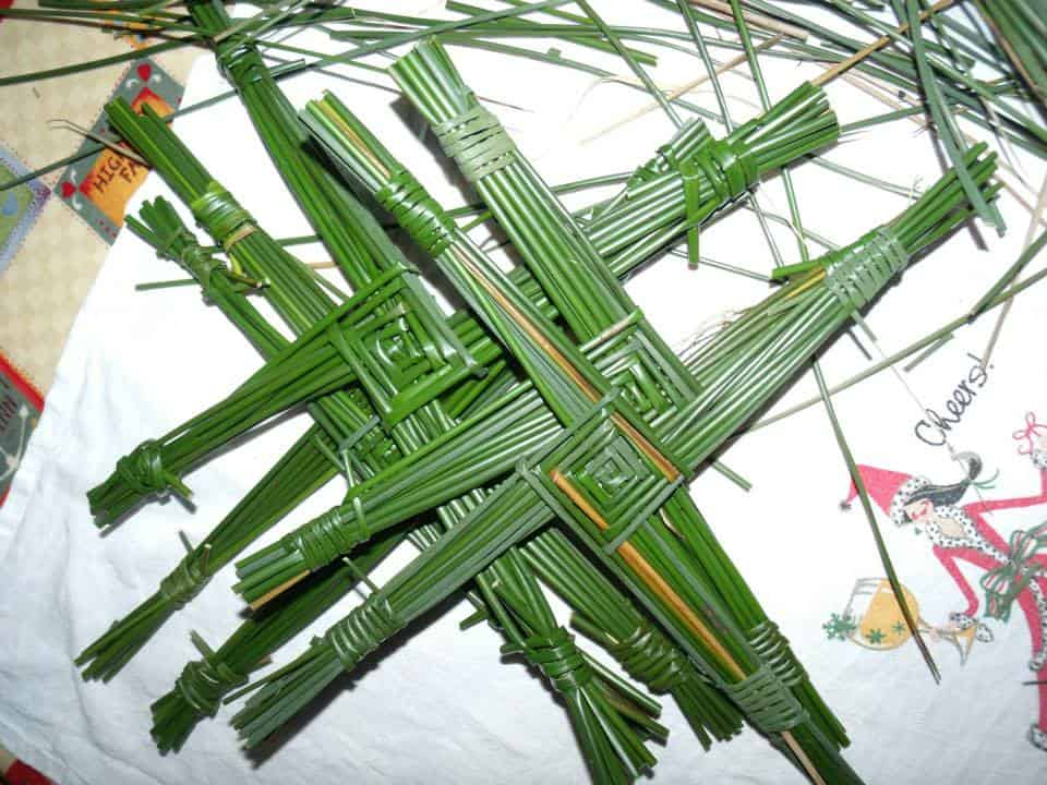 St. Brigid's Crosses Made With Reeds