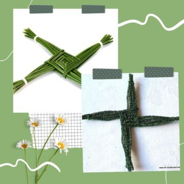 Two woven crosses on a graphic with daisies