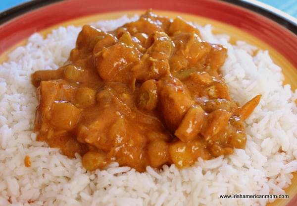 Apple and raisin chicken curry on a bed of white rice