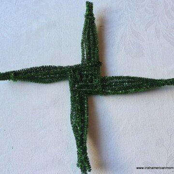 Green chenille stem or pipe cleaner Saint Brigid;s Cross