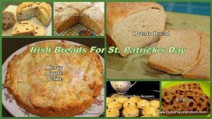 Soda bread, brack, brown bread and potato bread in a photo collage of Irish bread and cakes