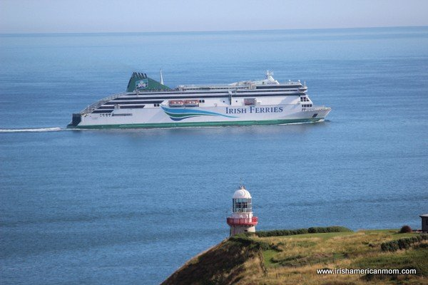 Looking over the Bailey lighthouse at an Irish Ferries ship