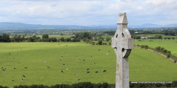 Cows in an Irish field below a Celtic Cross on a hill