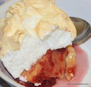 meringue topping with jam in Queen of puddings