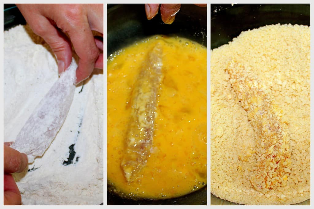 dredging chicken tenders in flour, egg wash and breadcrumbs