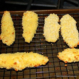 baking chicken tenders on a wire rack for crispiness