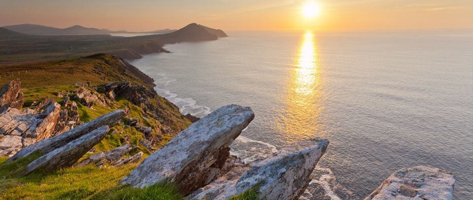Irish cliffs at sunset