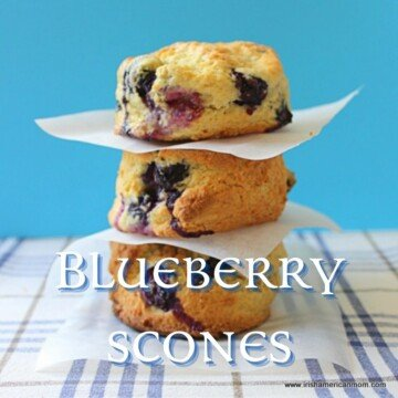 Three scones stacked with text overlay