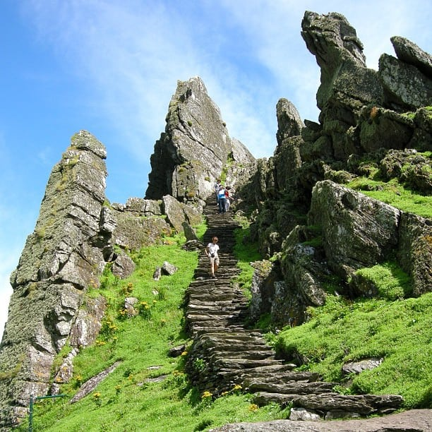 The stone steps that lead up Skellig Michael off the coast of County Kerry where Star Wars was filmed