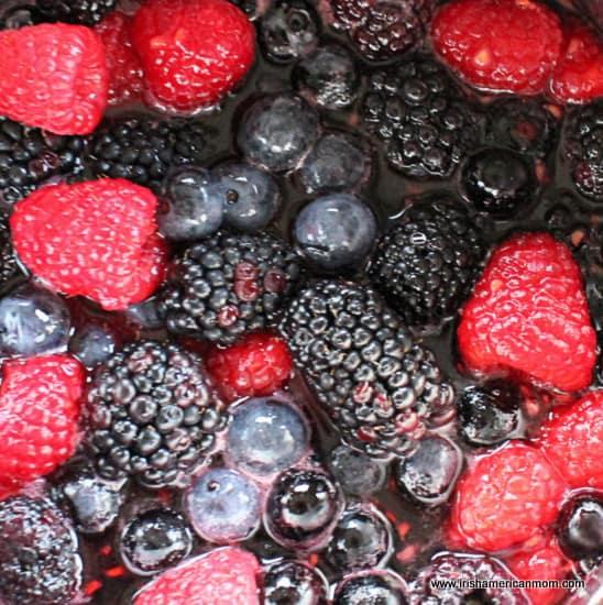 Fruit simmering for Summer Pudding